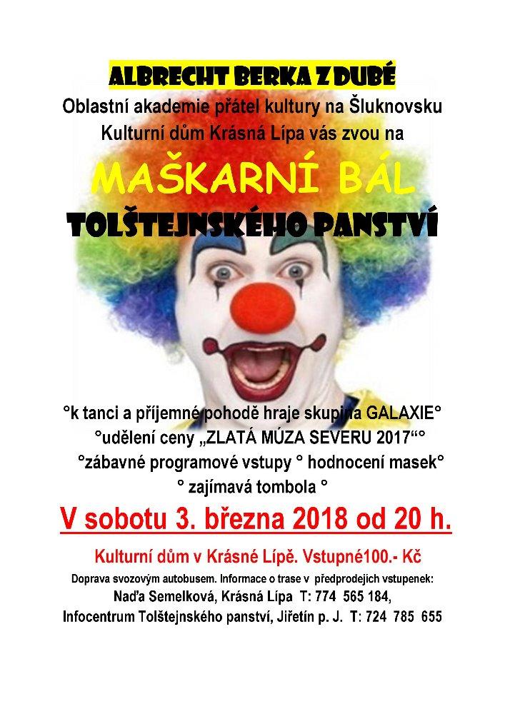 plakát na maškarní bál Tolštejnského panství konán v Krásné Lípě v Kulturním domě